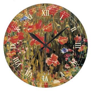 Vintage Red Flowers, Poppies by Robert Vonnoh Large Clock