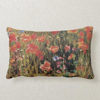 Vintage Red Flowers, Poppies by Robert Vonnoh Lumbar Pillow