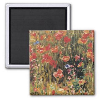 Vintage Red Flowers, Poppies by Robert Vonnoh Magnet