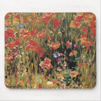 Vintage Red Flowers, Poppies by Robert Vonnoh Mouse Pad