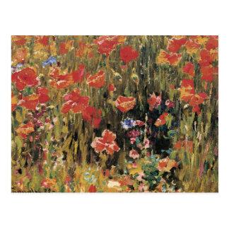 Vintage Red Flowers, Poppies by Robert Vonnoh Postcard