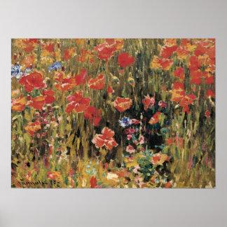 Vintage Red Flowers, Poppies by Robert Vonnoh Poster