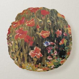 Vintage Red Flowers, Poppies by Robert Vonnoh Round Pillow