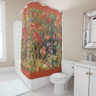 Vintage Red Flowers, Poppies by Robert Vonnoh Shower Curtain
