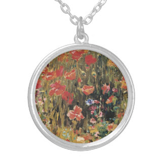 Vintage Red Flowers, Poppies by Robert Vonnoh Silver Plated Necklace