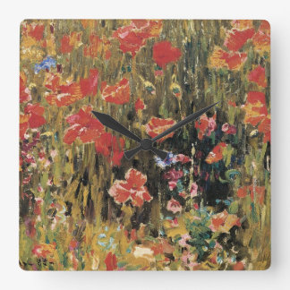 Vintage Red Flowers, Poppies by Robert Vonnoh Square Wall Clock