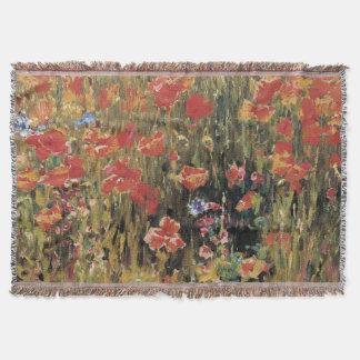 Vintage Red Flowers, Poppies by Robert Vonnoh Throw Blanket