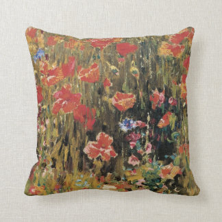 Vintage Red Flowers, Poppies by Robert Vonnoh Throw Pillow