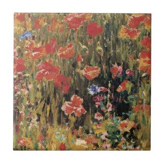 Vintage Red Flowers, Poppies by Robert Vonnoh Tile