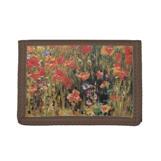 Vintage Red Flowers, Poppies by Robert Vonnoh Tri-fold Wallet