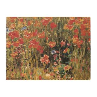 Vintage Red Flowers, Poppies by Robert Vonnoh Wood Wall Art