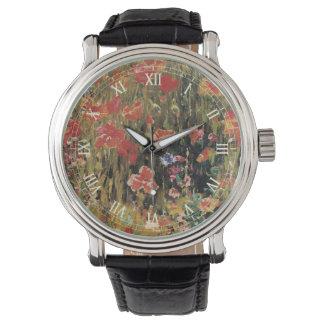 Vintage Red Flowers, Poppies by Robert Vonnoh Wrist Watch