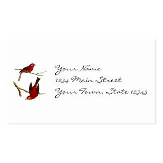 Vintage Red Flycatcher Bird Business Card Template