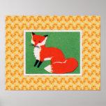 Vintage Red Fox Print