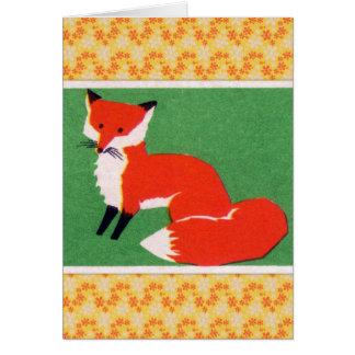Vintage Red Fox Print Card
