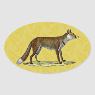 Vintage Red Fox Oval Stickers