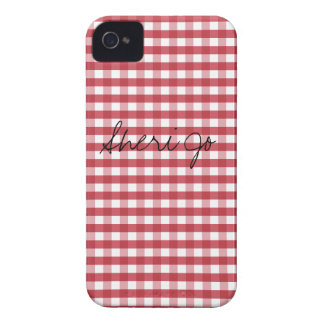 Vintage Red Gingham Customizable iPhone 4 Case-Mate Cases