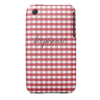 Vintage Red Gingham Customizable iPhone 3 Case-Mate Cases