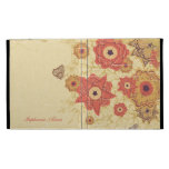 Vintage red gold floral personalized iPad cover iPad Cases