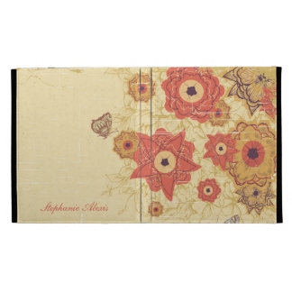Vintage red gold floral personalized iPad cover iPad Folio Cover