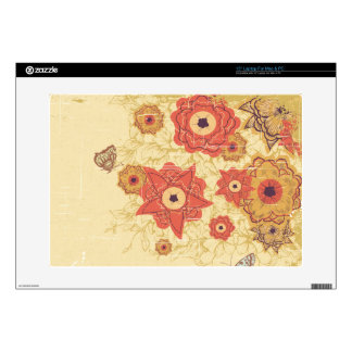 "Vintage red + gold poppy flowers 15"" laptop skin"