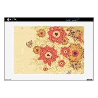 "Vintage red + gold poppy flowers 15"" laptop skin"