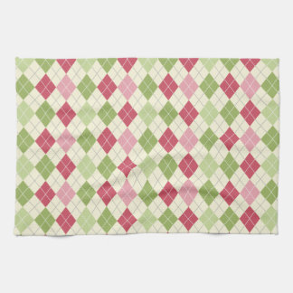 Vintage Red, Green, and Pink Argyle Pattern Towel