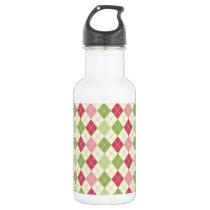 Vintage Red, Green, and Pink Argyle Pattern Water Bottle