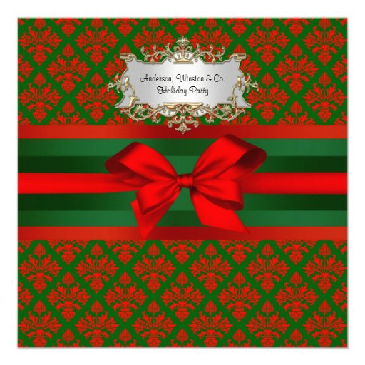 Vintage Red & Green Damask #3 Ribbon Xmas Party Invite