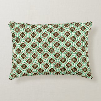 Vintage Red Green White Barcelona Floral Pattern A Accent Pillow