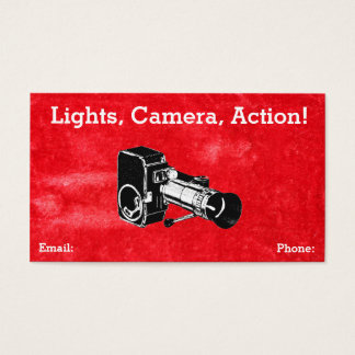 Vintage Red Grungy Retro Style Movie Camera Film Business Card