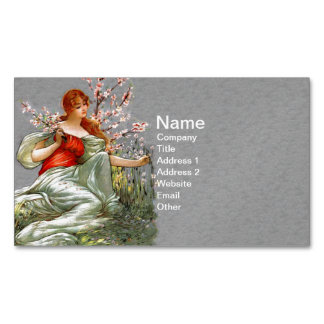 Vintage Red Hair Lady Pink Flowers Flowing Gown Magnetic Business Card