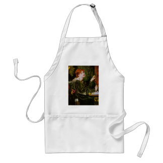 Vintage red-haired lady in green adult apron