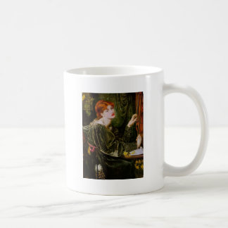 Vintage red-haired lady in green coffee mugs