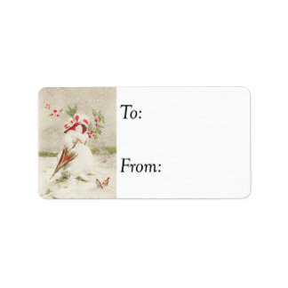 Vintage Red Hat Snowwoman Gift Tag Personalized Address Label