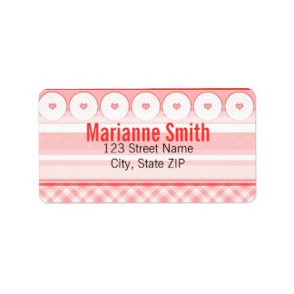 Vintage Red Hearts & Gingham Personalized Address Label