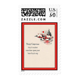 Vintage Red Houses Christmas & New Year's Postage at Zazzle