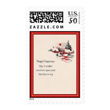 Christmas Themed Vintage Red Houses Christmas & New Year's Postage