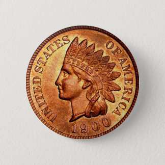 Vintage Red Indian Head Penny 1 Cent 1900 Button