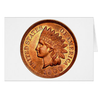 Vintage Red Indian Head Penny 1 Cent 1900 Greeting Card
