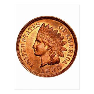 Vintage Red Indian Head Penny 1 Cent 1900 Postcard