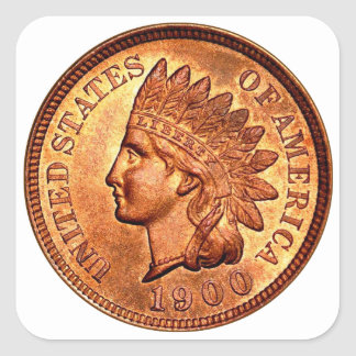 Vintage Red Indian Head Penny 1 Cent 1900 Square Sticker