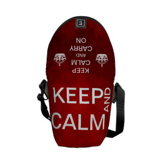 Vintage Red KEEP CALM AND CARRY ON Courier Bag