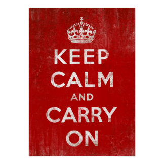 Vintage Red Keep Calm and Carry On Poster