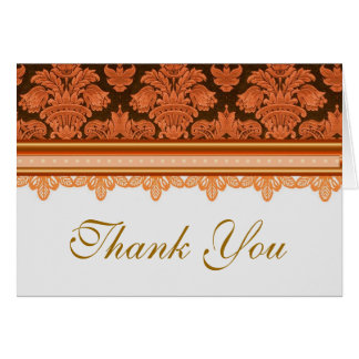 Vintage red lace brocade thank you card