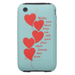 Vintage Red Lace Hearts iPhone 3 Tough Cover