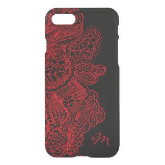 Vintage Red Lace On Black Monogram iPhone 7/8 Case