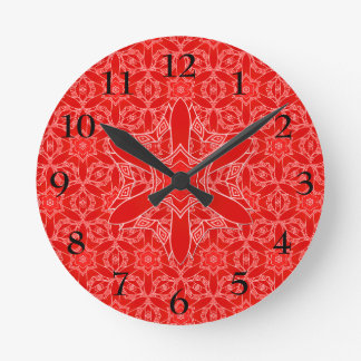 Vintage Red Lace Round Clock
