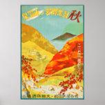 Vintage Red Leaves at Yunoyama Onsen Japan Travel Poster