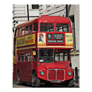 Vintage Red London Bus Poster